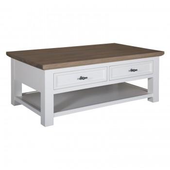 "Table de salon 2 tiroirs ""Chêne et Pin tradition"" - achat table basse"