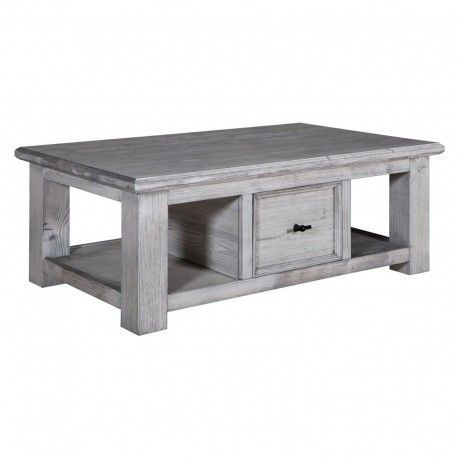 """Table basse rectangulaire tiroirs """"Pin Provence"""""""