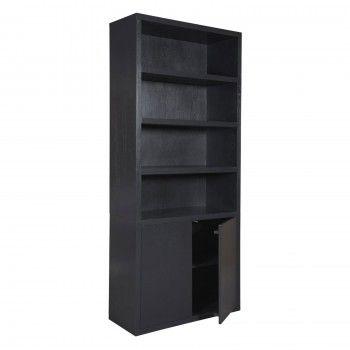 """Bibliothèque 2 portes """"Chêne Moderne"""" noire"""