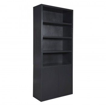 """Bibliothèque 2 portes """"Chêne Moderne"""" - noire luxe"""