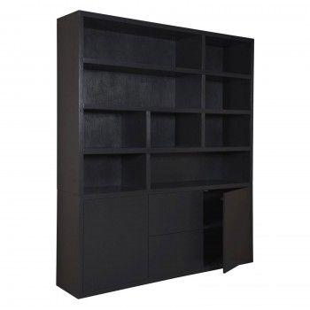 """Bibliothèque 2 portes 2 tiroirs """"Field"""" noire"""