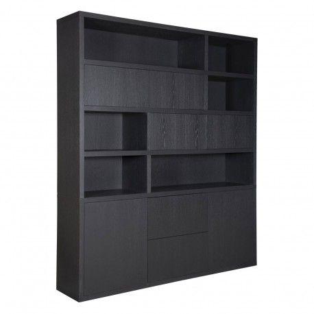 "Bibliothèque 6 portes 2 tiroirs ""Chêne Moderne"""