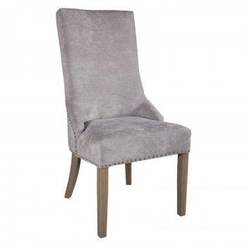 """Chaise avec boutons argentés """"Ellen"""" - chaise grise"""