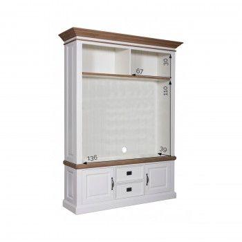 """Meuble TV 2 portes 2 tiroirs avec des panneaux de bossage """"Chêne et Pin Romance"""""""