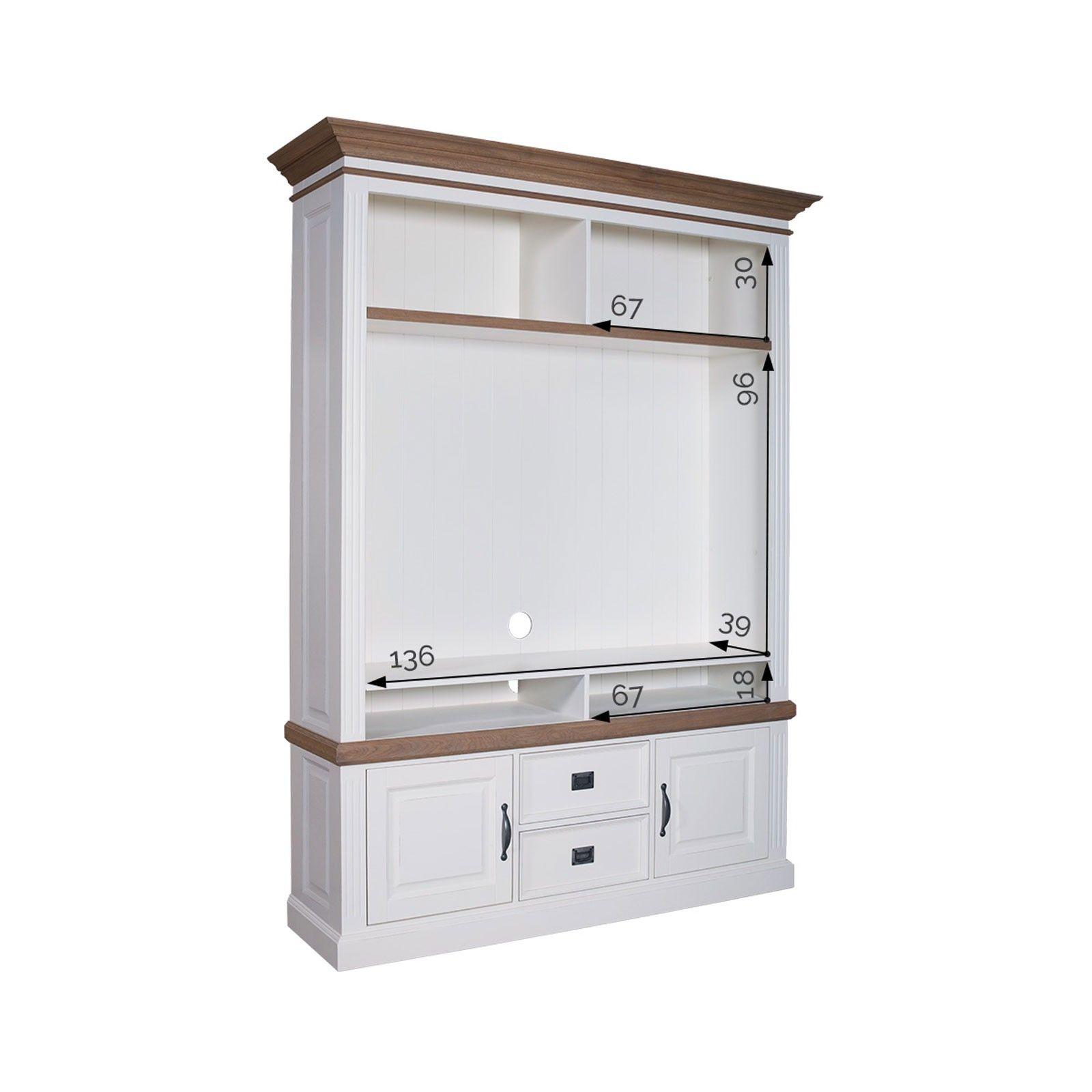 Meuble TV avec étagière 2 portes 2 tiroirs