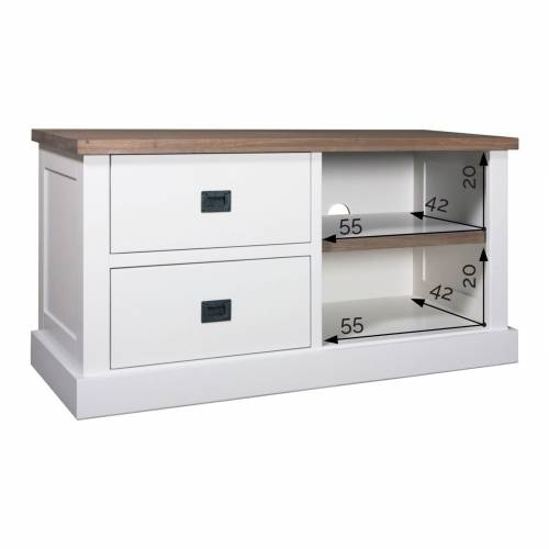 "Meuble TV 2 tiroirs ""Chêne et Pin Chic"" - dimensions meuble tv"