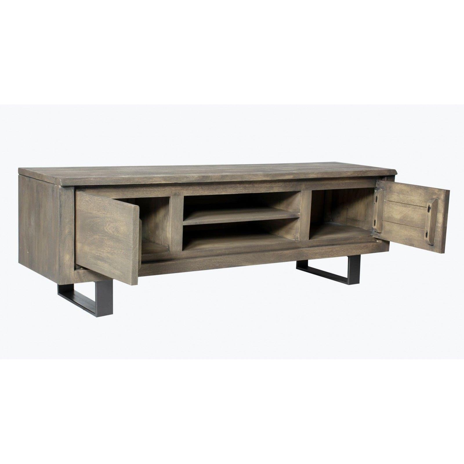 Meuble tv New York en bois manguier massif 2 portes et 2 étagères