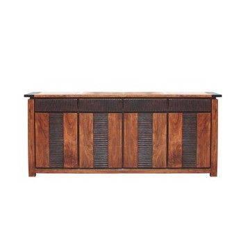 Buffet Moon ethnique chic en bois d'acacia massif 4 portes et 4 tiroirs