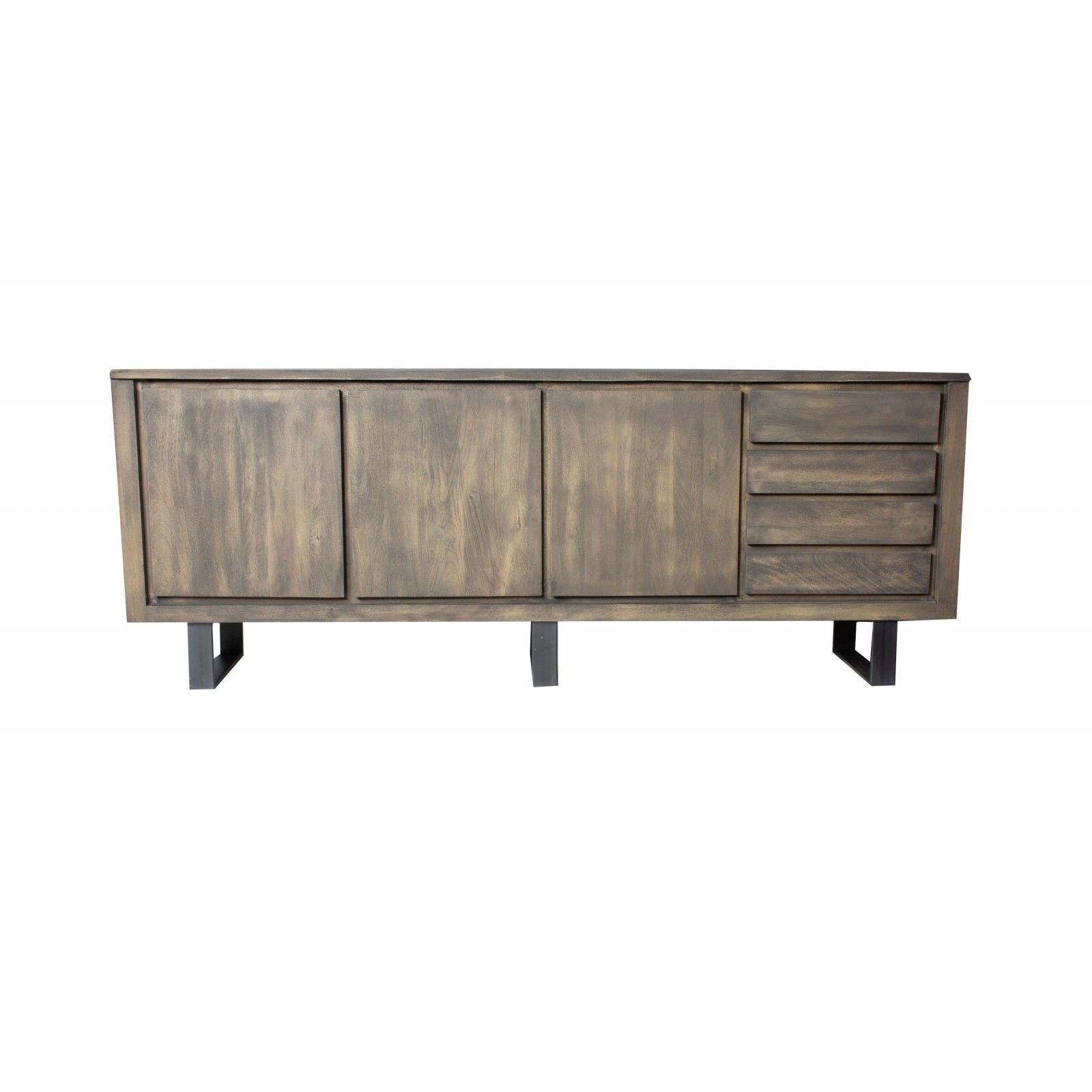 Buffet New York en bois manguier massif et métal 3 portes et 4 tiroirs