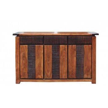 Buffet Moon ethnique chic en bois d'acacia massif 3 portes et 3 tiroirs