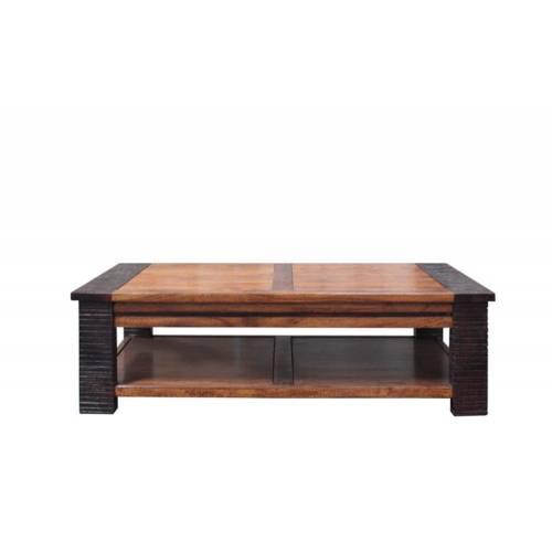 Table basse carrée Moon ethnique chic en bois d'acacia massif bicolore