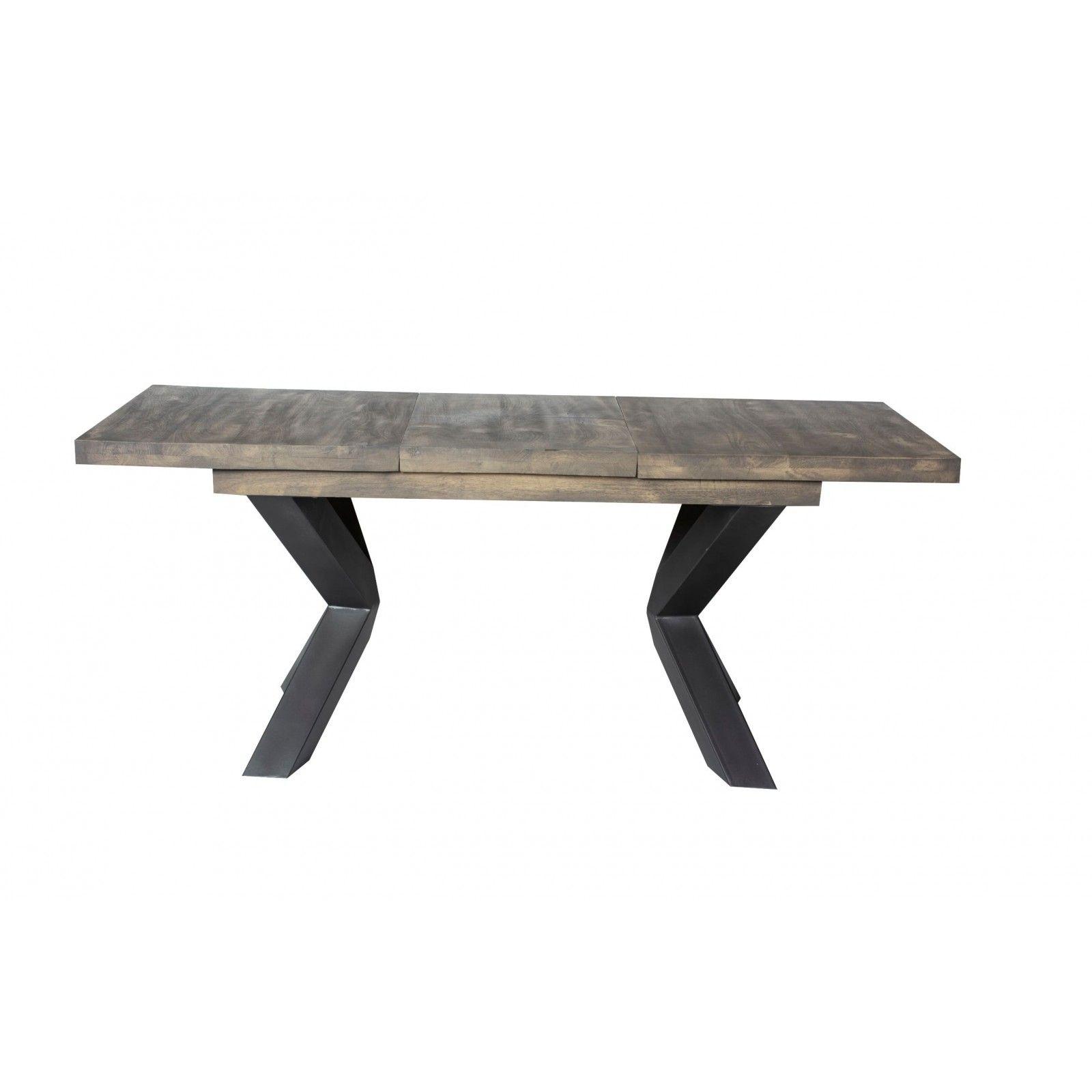 Table semi-haute avec allonge New York en manguier massif et métal