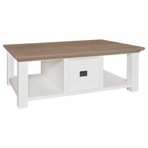 "TTable basse blanche ""Chêne et Pin Oakdale"" Tables basses rectangulaires - 4"