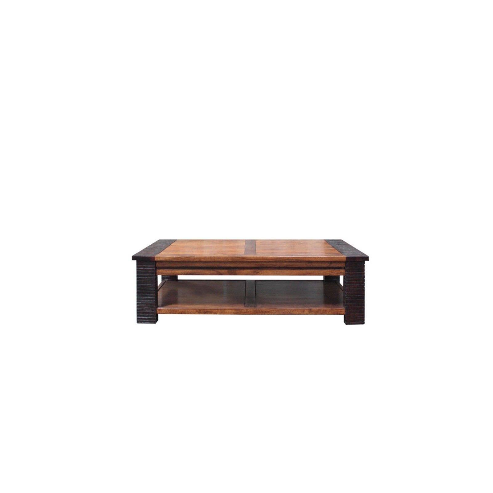 Table basse rectangulaire Moon ethnique chic en bois d'acacia massif