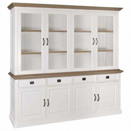 Buffet Vaisselier vitré Oakdale 2x4-portes 4-tiroirs