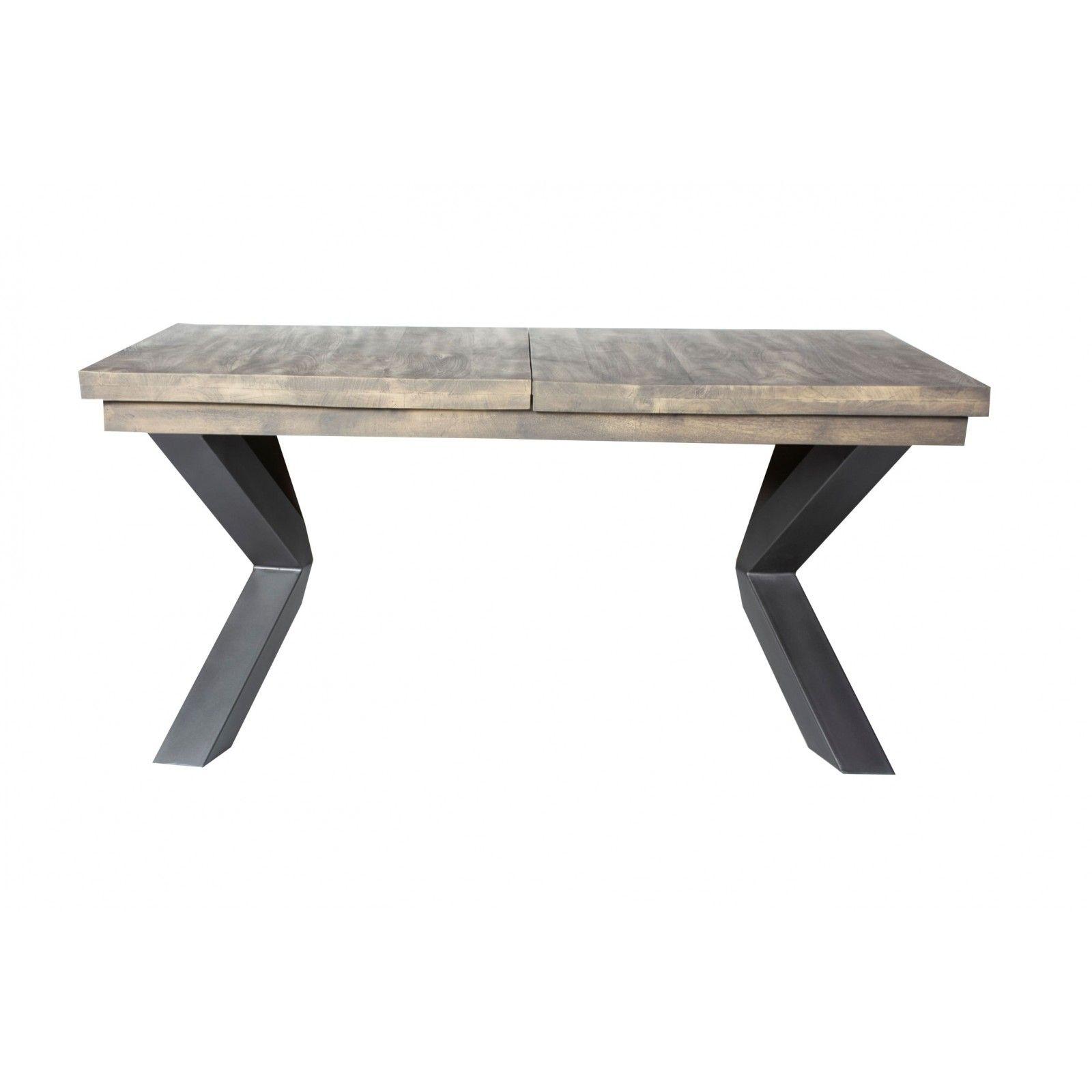 Table de repas avec allonges New York en manguier massif et métal