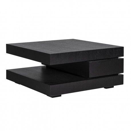 "Table basse carrée noir Blok C ""Chêne Oakura"""