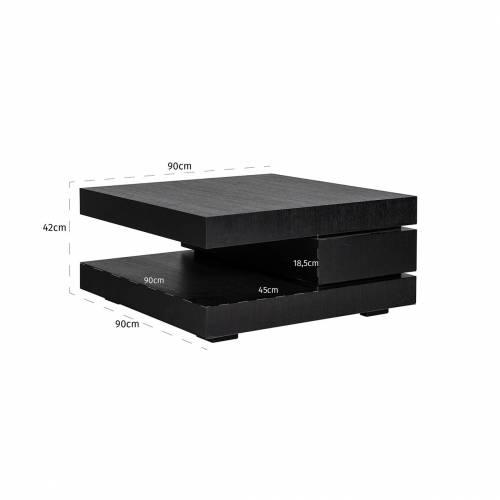 """Table basse carrée noir Blok C """"Chêne Oakura"""" Tables basses carrées - 10"""