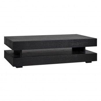 "Table basse rectangulaire noir Blok H ""Chêne Oakura"" Tables basses rectangulaires - 80"