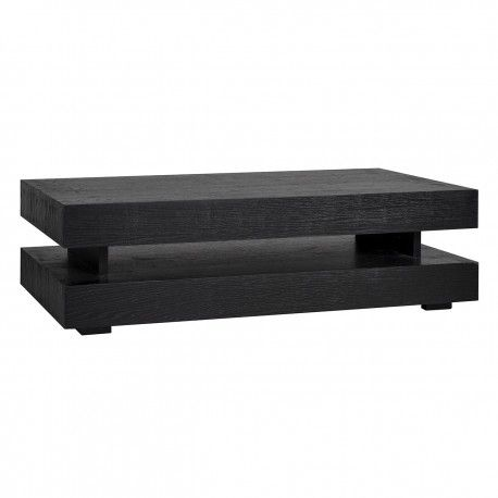 "Table basse rectangulaire noir Blok H ""Chêne Oakura"""