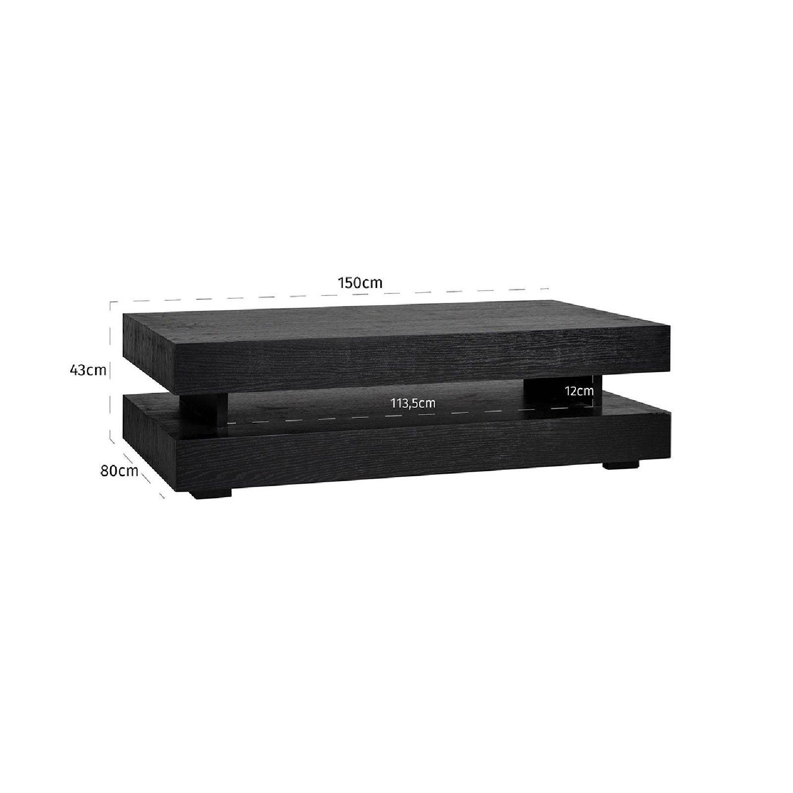 Table basse rectangulaire noir Blok H