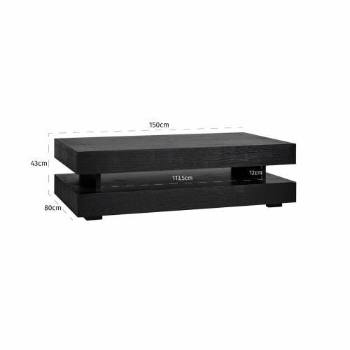 "Table basse rectangulaire noir Blok H ""Chêne Oakura"" Tables basses rectangulaires - 156"
