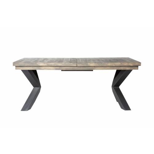 Table de repas avec allonges papillon New York en manguier massif et métal