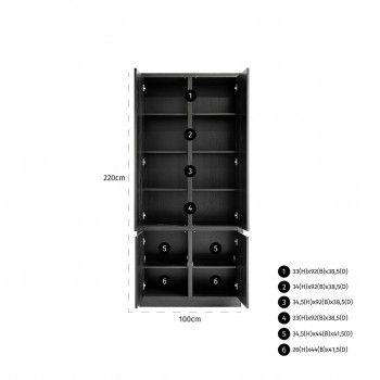 Cabinet Oakura 2x2-portes3 étagères au desssu - 1 étagère au fond Meuble Déco Tendance - 695