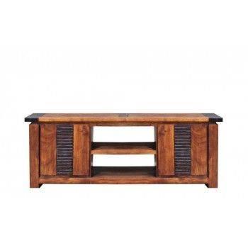 Meuble tv Moon ethnique chic en bois d'acacia massif 2 portes et 1 étagère