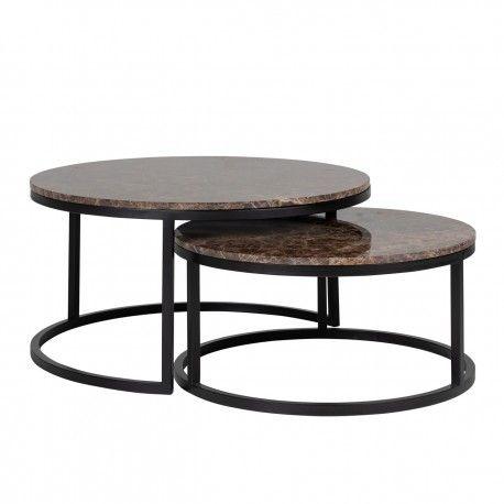 """Set de 2 table basse ronde - Fer et marbre brun empereur """"Dalton"""""""