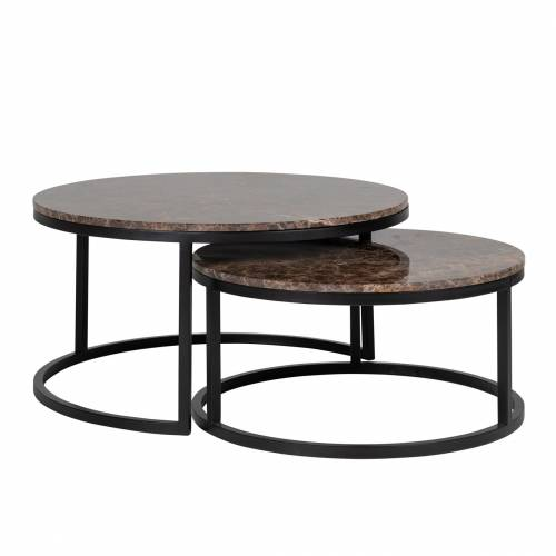 """Set de 2 table basse ronde - Fer et marbre brun empereur """"Dalton"""" Tables basses rondes - 822"""