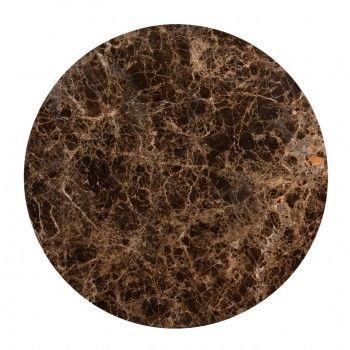 """Set de 2 table basse ronde - Fer et marbre brun empereur """"Dalton"""" Tables basses rondes - 836"""