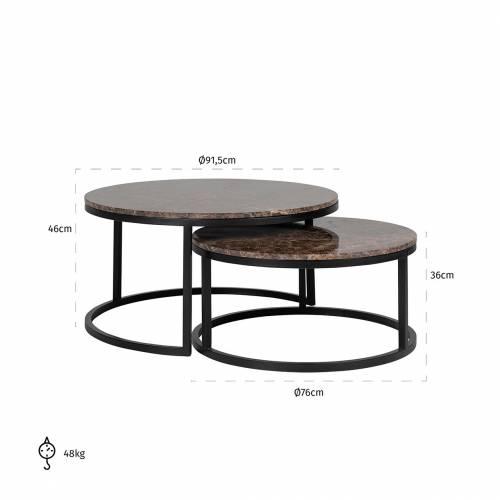 """Set de 2 table basse ronde - Fer et marbre brun empereur """"Dalton"""" Tables basses rondes - 850"""