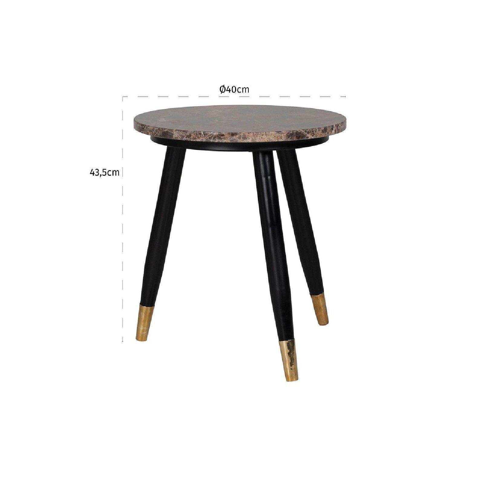 Table d'angle Dalton brown emperador rond 40Ø Meuble Déco Tendance - 843