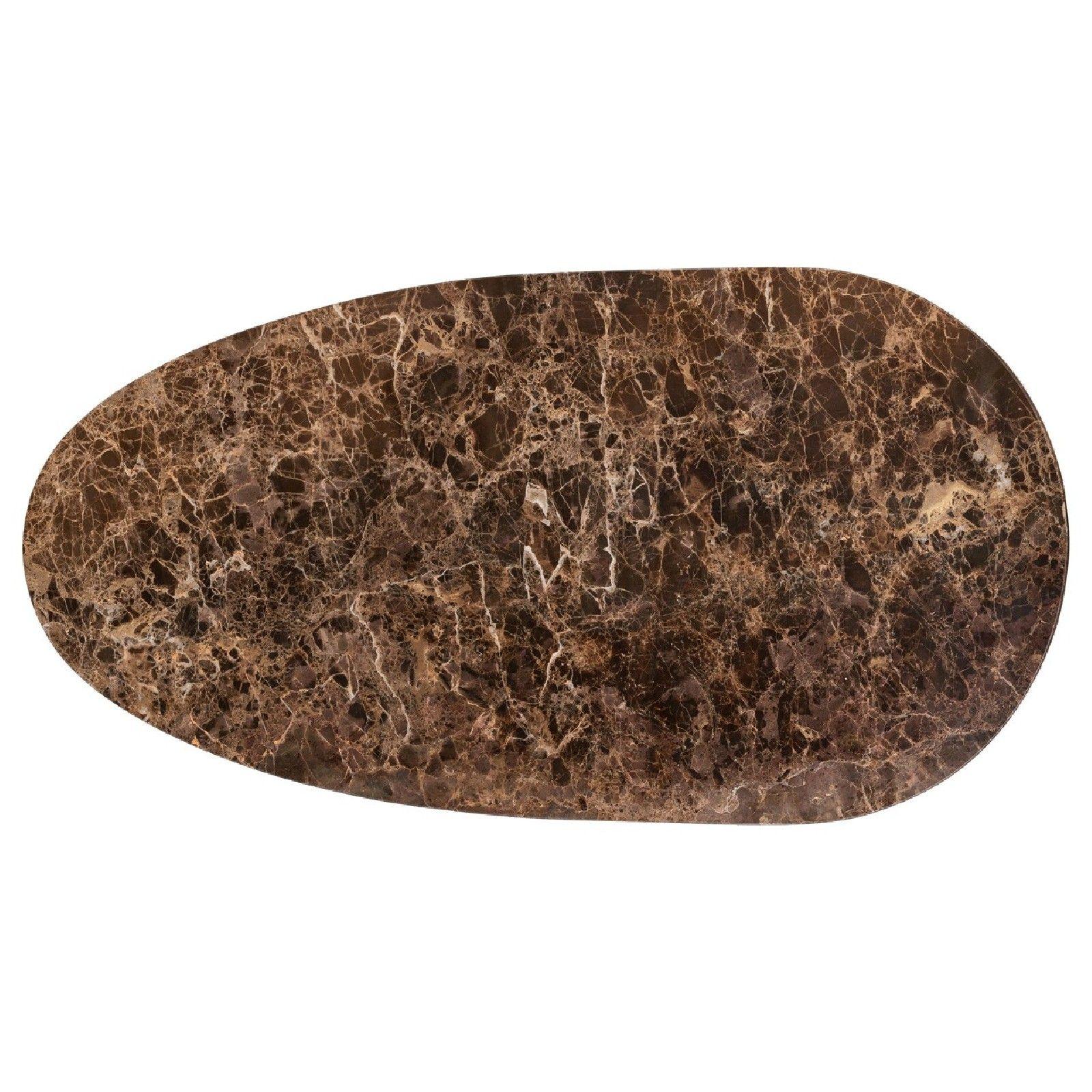 Table basse ovale - Métal et marbre brun empereur