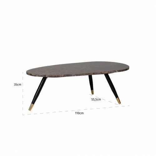 """Table basse ovale - Métal et marbre brun empereur """"Dalton"""" Tables basses ovales - 865"""