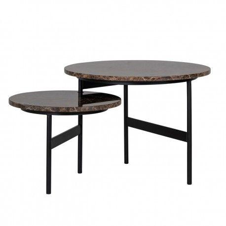 """Table basse ronde - 2 plateaux rotatifs - Fer et marbre brun empereur """"Dalton"""""""