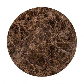 """Table basse ronde - 2 plateaux rotatifs - Fer et marbre brun empereur """"Dalton"""" Tables basses rectangulaires - 829"""