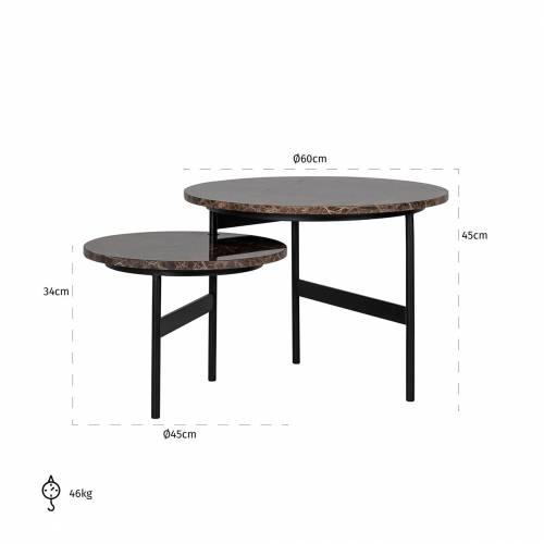 """Table basse ronde - 2 plateaux rotatifs - Fer et marbre brun empereur """"Dalton"""" Tables basses rectangulaires - 847"""
