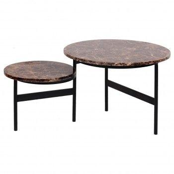 """Table basse ronde - 2 plateaux rotatifs - Fer et marbre brun empereur """"Dalton"""" Tables basses rectangulaires - 858"""