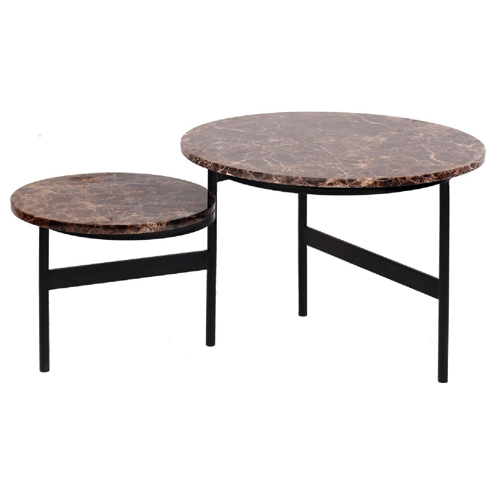 Table basse ronde - 2 plateaux rotatifs - Fer et marbre brun empereur