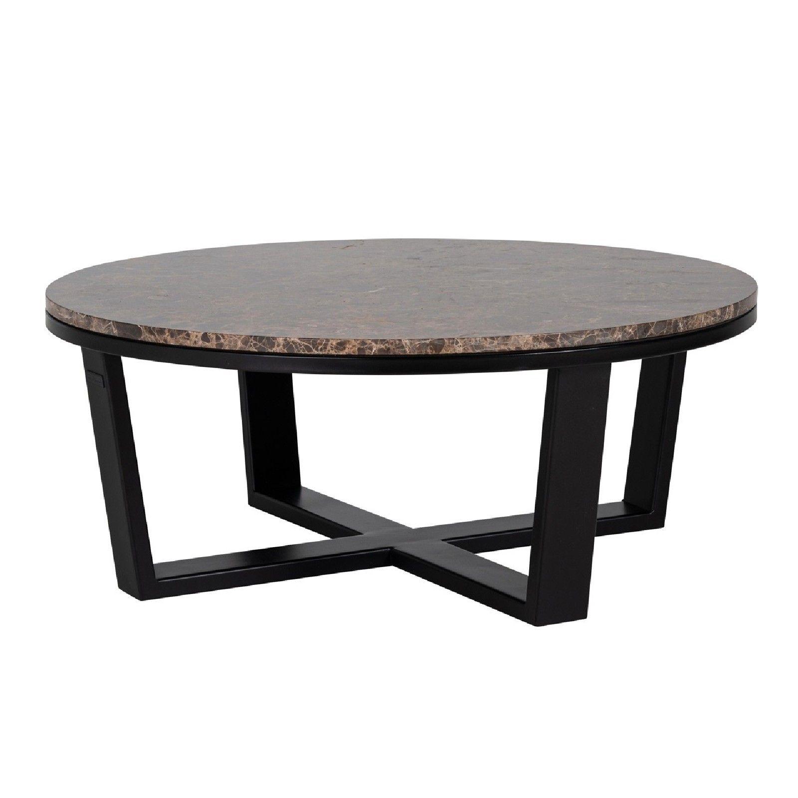 "Table basse ronde 90Ø - Fer et marbre brun empereur ""Dalton"" Tables basses rondes - 811"