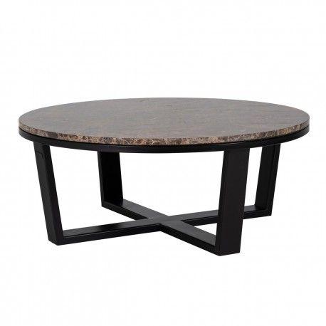 """Table basse ronde 90Ø - Fer et marbre brun empereur """"Dalton"""""""