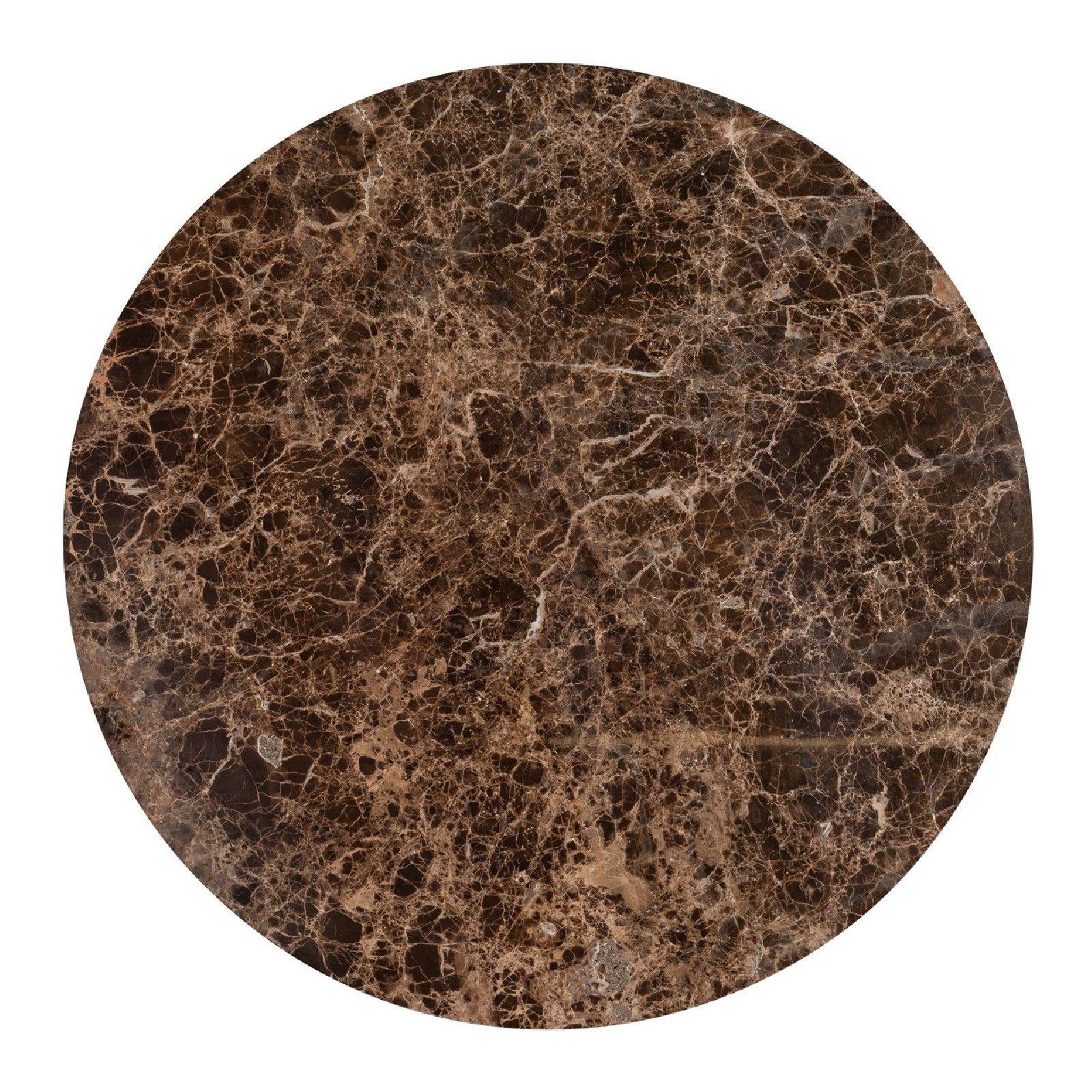 Table basse ronde 90Ø - Fer et marbre brun empereur
