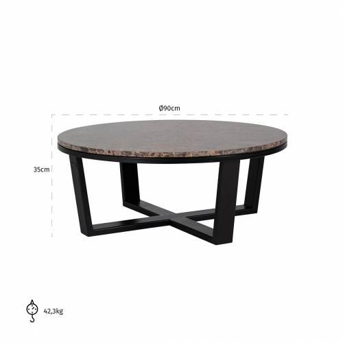 "Table basse ronde 90Ø - Fer et marbre brun empereur ""Dalton"" Tables basses rondes - 856"