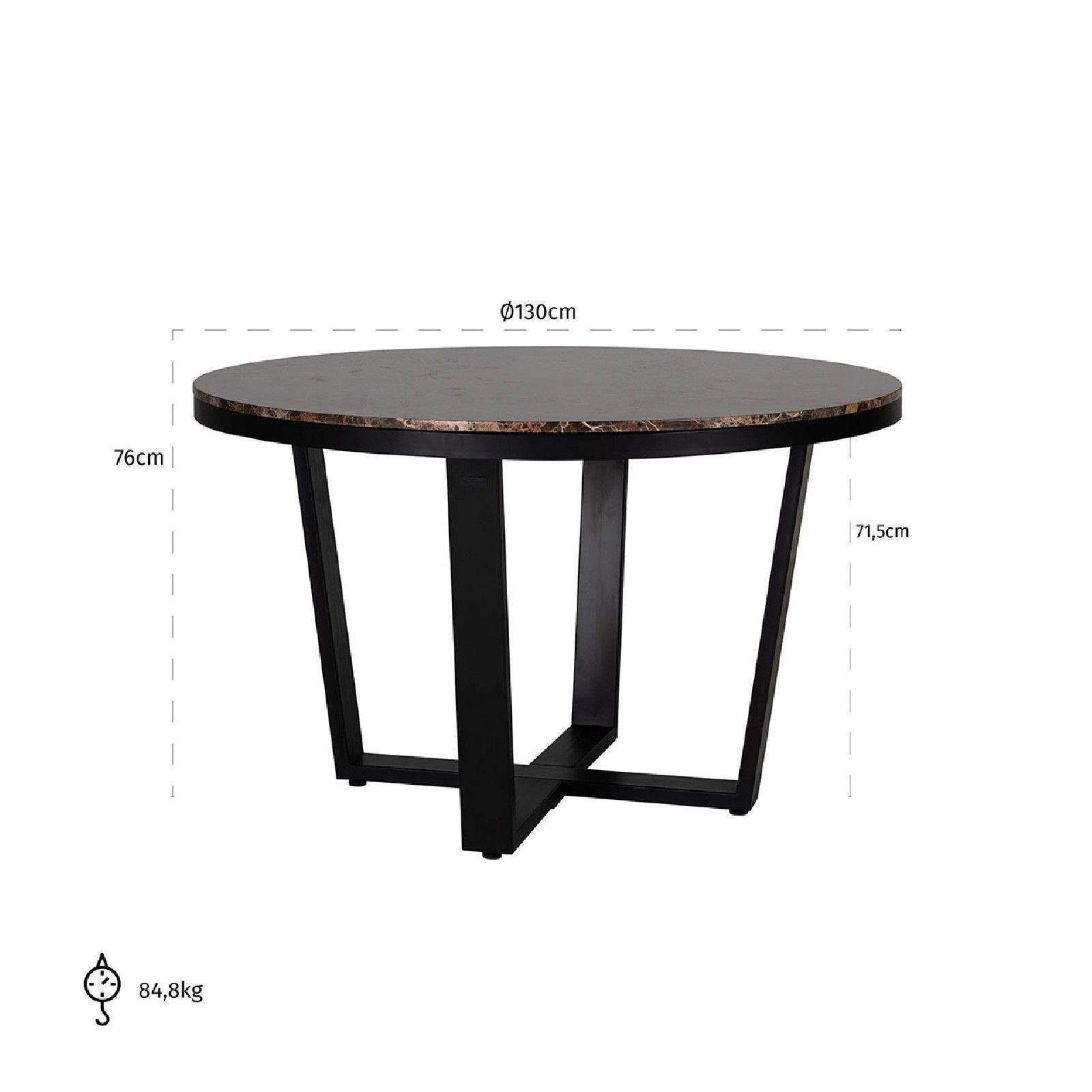 Table à dîner Dalton brown emperador rond 130Ø Meuble Déco Tendance - 854