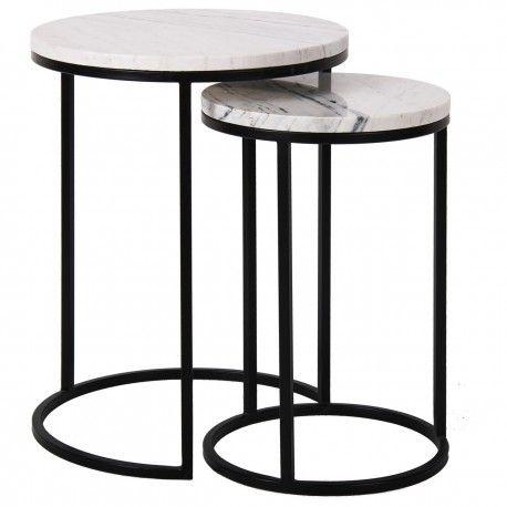 Table d'angle Lexington white set de 2