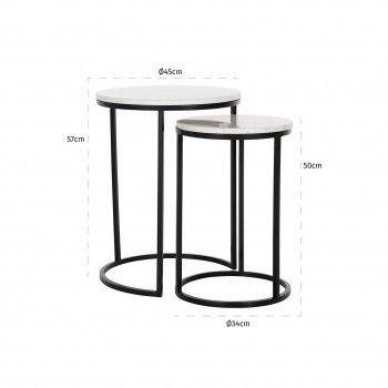 Table d'angle Lexington white set de 2 Meuble Déco Tendance - 437
