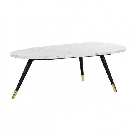 """Table basse ovale - Métal et marbre blanc """"Lexington"""""""
