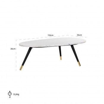 """Table basse ovale - Métal et marbre blanc """"Lexington"""" Tables basses rectangulaires - 153"""